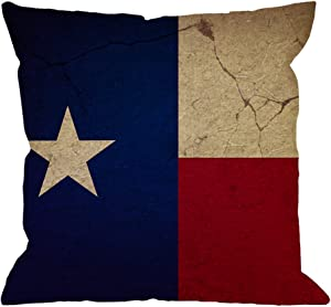 HGOD DESIGNS Flag Pillow Case,Texas Flag Cotton Linen Cushion Cover Square Standard Home Decorative for Men/Women 18x18 inch Blue Red Yellow