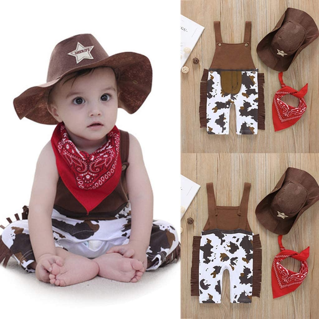 0-2Years,SO-buts Baby Boy Kid Toddler Cowboy Overall Hat Scarf Jumpsuit Romper 3PCS Outfits Set Summer Clothes