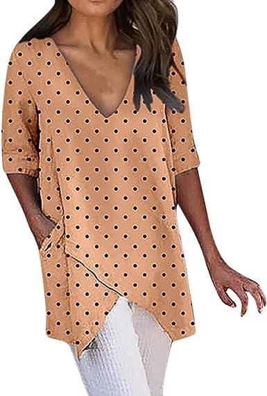 Camisetas Mujer para Vestir Camisas asimétricas con Cuello en ...