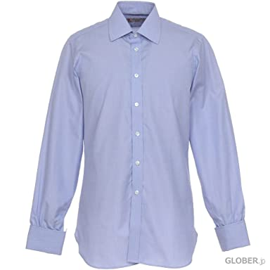 Turnbull & Asser End-on-End Cotton Shirt with Classic T&A Collar MSHI072: Z1014 Blue