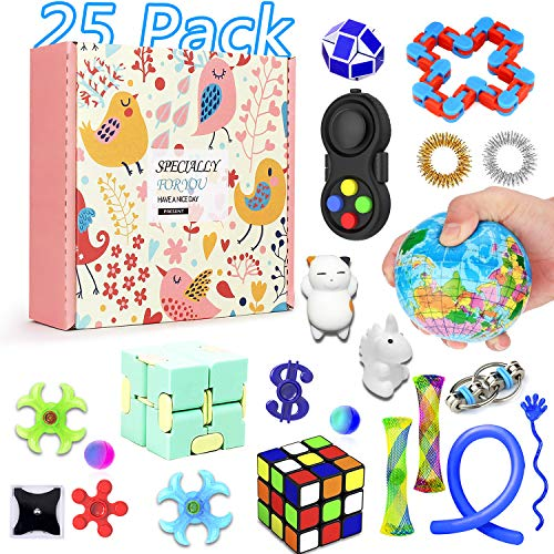 25 Pack Sensory Fidget Toys Set, Party Favor Christmas Toy Assortment, Birthday Party, School Classroom Rewards, Carnival Prizes, Pinata Fillers and Goodie Bags Fillers for ADHD Autism Stress Anxiety]()