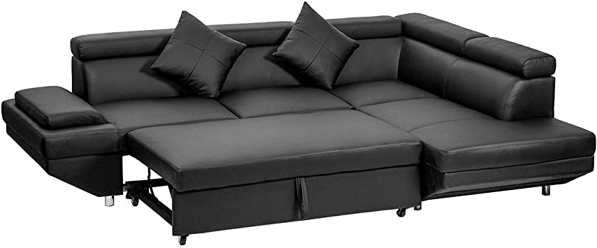 Amazon.com: FDW Sofa Sectional Sofa Bed Futon Sofa Bed Sofa For Living Room Couches And Sofas Sleeper Sofa PU Leather Sofa Set Corner Modern Queen 2 Piece Contemporary Upholstered,Black: Furniture & Decor
