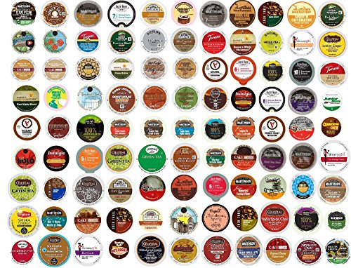(100 Count EVERYTHING K Cup Variety Pack - 100 DIFFERENT K Cups and Flavors including Coffee, Flavored Coffee, Tea, Hot Milk Chocolate or Cocoa, Cappuccino & Decaf)