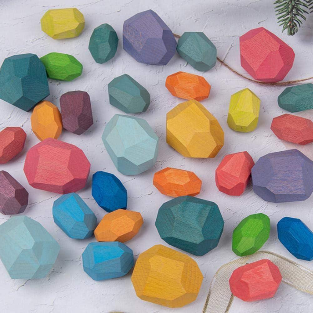 Sanmubo Trading Holzstapelspiel Farbige Jenga Stapelbl/öcke Spielzeug Balancierbl/öcke Home Desktop Decor Lernspielzeug f/ür Kinder 5er-Set