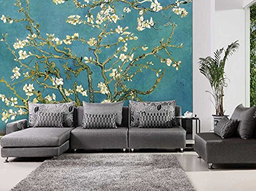 "Wall26 – Teal ""Almond Blossom"" by Vincent Van Gogh – Wall Mural, Removable Sticker, Home Decor – 66×96 inches"