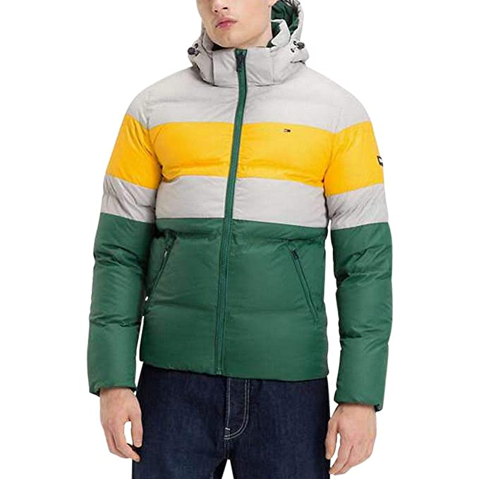 Tommy Jeans Giubbotto DM0DM05024 Uomo Hilfiger Verde Cappuccio Giacca  Bomber - Taglia XS 15cf8a4af02