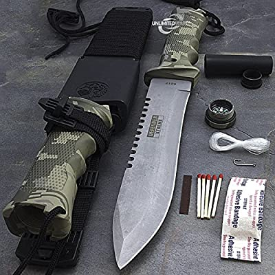 """13.75"""" ARMY CAMO DROP POINT SURVIVAL COMBAT TACTICAL HUNTING KNIFE w/ KIT SHEATH"""