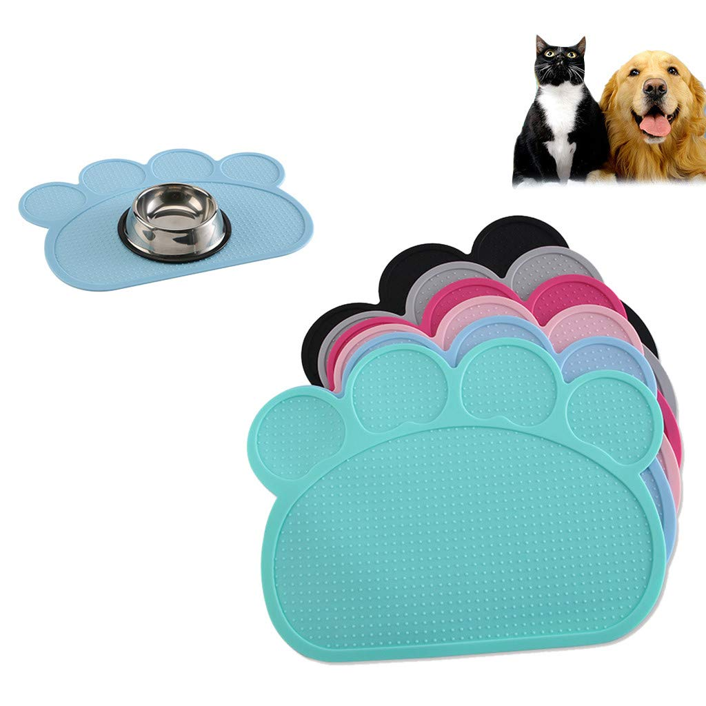 Pet Footprint Shape Placemat Jiayit Silicone Pet Feeding Mat Non-slip Pet Food Placemat Candy Colors Solid Color for Dog Cat (Green)