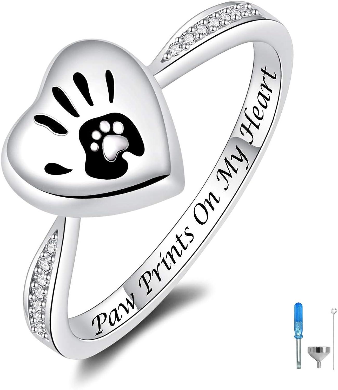 Ash Ring Pet Silver Cremation Ring Stainless Urn Ring Cremation Jewelry Memorial Keepsake