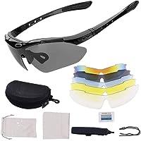 Gafas De Sol Polarizadas,Gafas de Sol Deportivas,con 5 Lentes Intercambiables UV400 Protección Antivaho Antireflejo Anti…