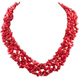 Fashionable Red Coral Chip Necklace 17.5 Inch