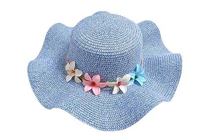 Demarkt Strohhut Sonnenhut Sommerhut Strandhut für Baby Mädchen Kappenumfang von etwa 50-52cm Dunkelblau