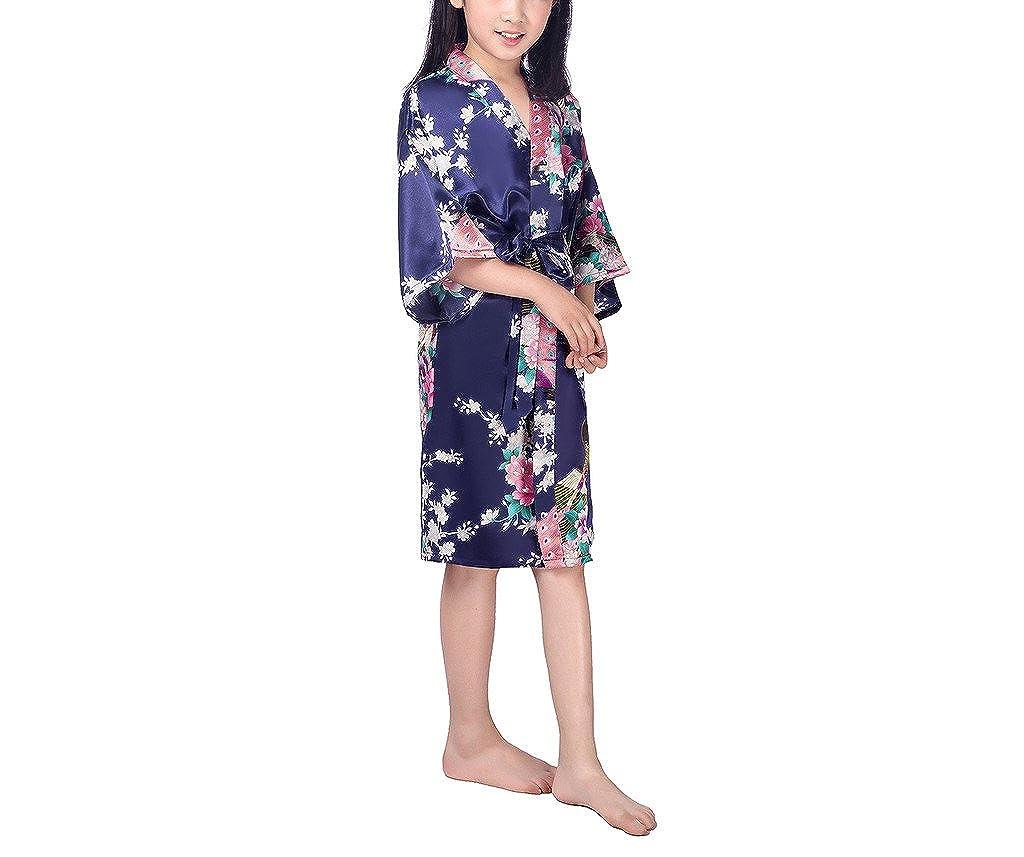 xingyueshop Children Girls Silk Robes Satin Robe Short Floral Peacock Japan Kimono Stain Sleepwear