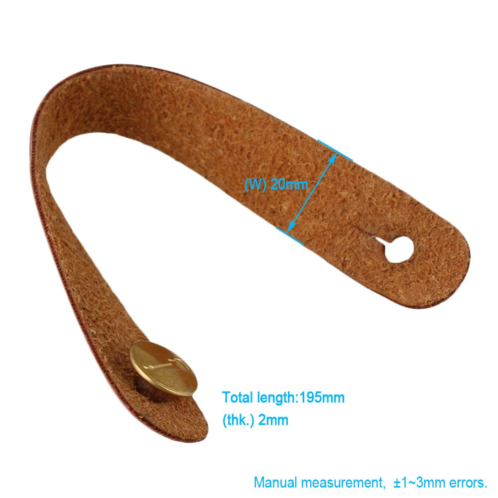 BQLZR 198x20mm Brown Leather Guitar Strap Hook Button for Guitar Musical Instrument Part N24487