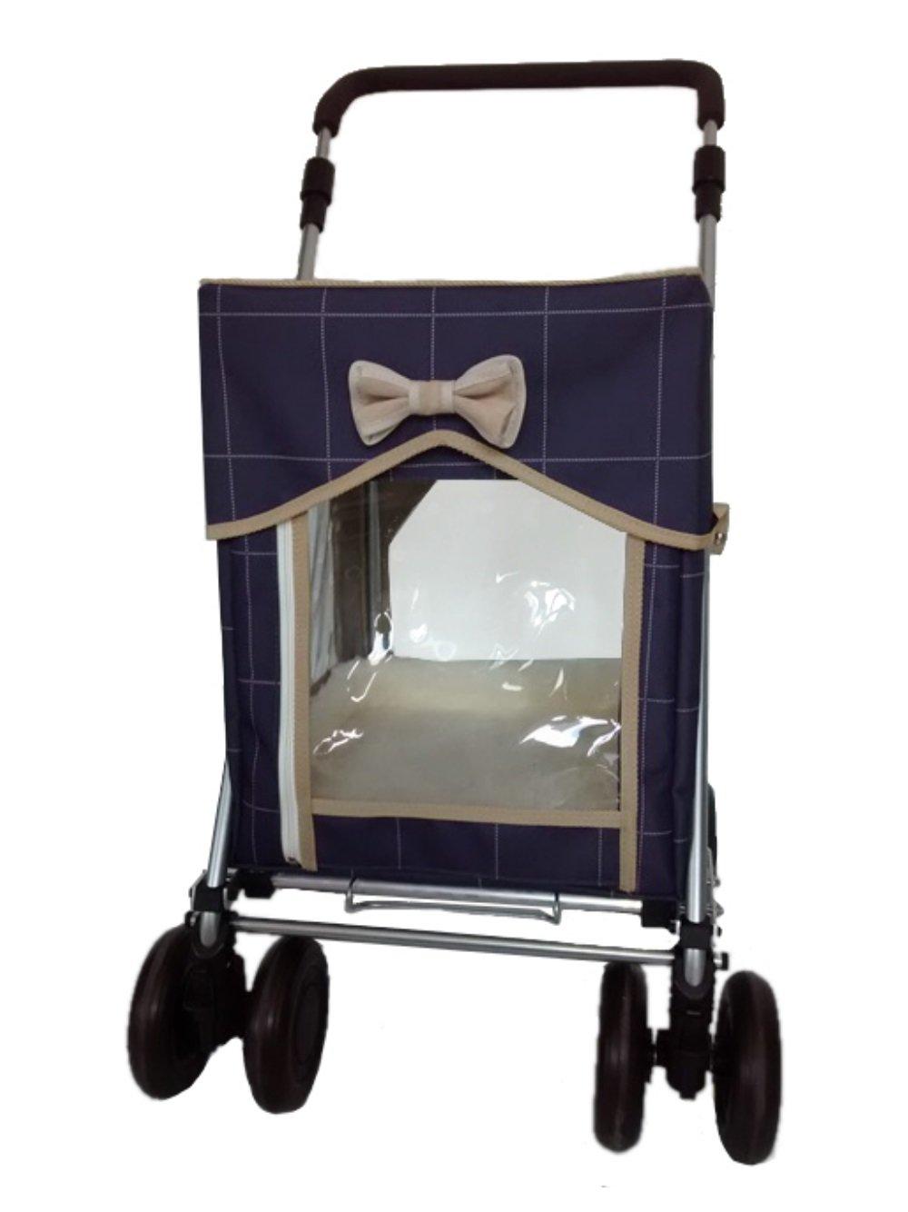 Regelmäßige Größe Petmobil Huckleberry Rover, Blau Karo, Haustierwagen, Frachtführer oder Transporteur