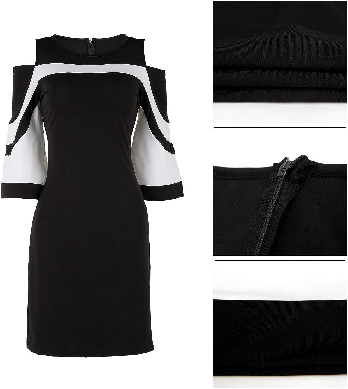 HannahZone Womens Summer Cold Shoulder Dresses Casual Tunic Top 3//4 Sleeve T-Shirt Swing Dress