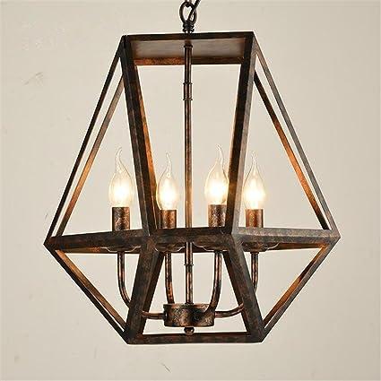 Lámparas de araña Araña de hierro colgante Retro E14 Luces de techo Irregular polígono Pantalla LOFT