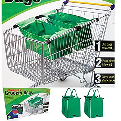 Grab Bag Reusable Shopping Cart Grocery Bags (Set of 2) Clips to Cart - Proudly Made in the USA & 100% Guaranteed Through Land Essentials