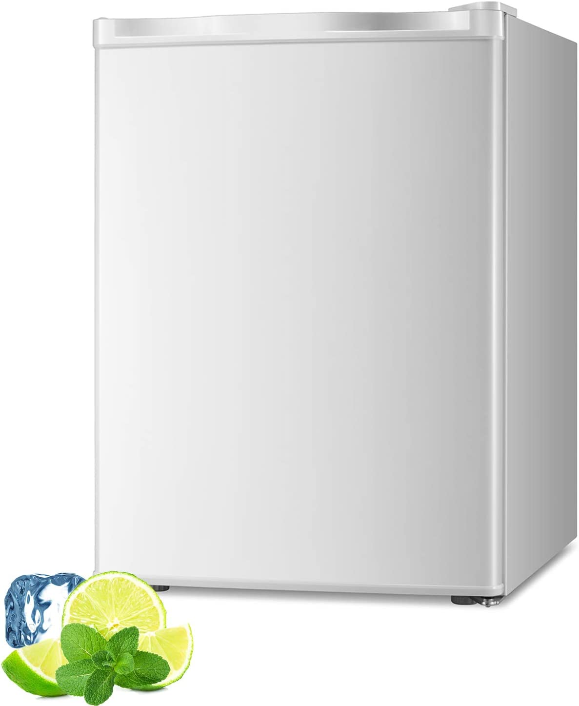 AGLUCKY 2.1 Cu.ft Compact Upright Freezer, Mini Refrigerator with Reversible Single Door and Removable Glass Shelves, Beverage and Food Storage Cooler for Office, Dormitory, Home or Apartment(White)