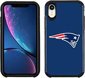 Prime Brands Group Cell Phone Case for Apple iPhone XR - NFL Licensed New England Patriots - Blue Textured Back Cover on Black TPU Skin (NFL-IPHONEXR-TX1-PATRIOTS)