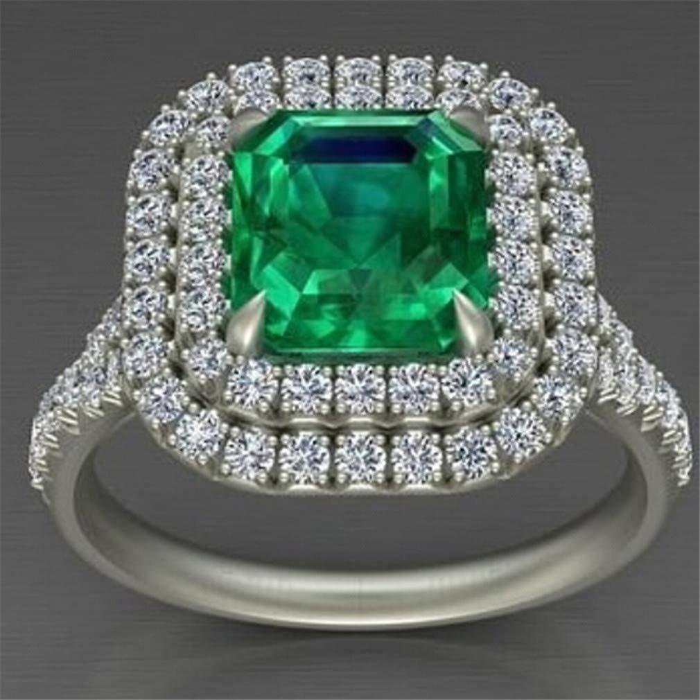 Iumer Zircon Ring Ladies Emerald Crystal Square Exaggerated Rhinestone Wedding Ring