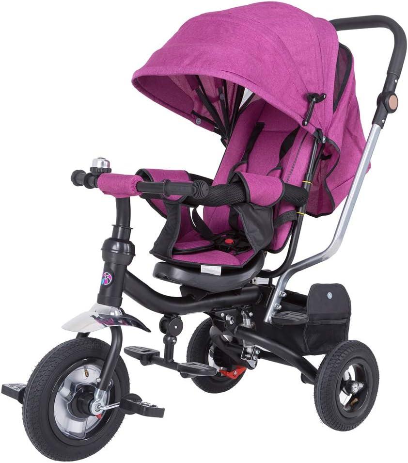 Spielwerk Tríciclo Ajustable Rosa para Bebes y niños con Barra de Empuje Multifuncional Cochecito Asiento Giratorio Techo
