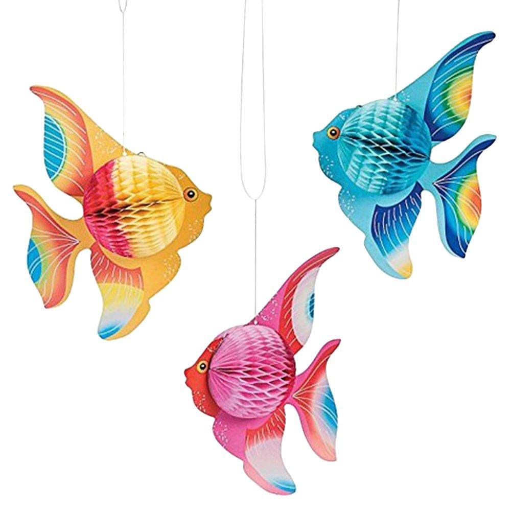 Toyvian 6 Piezas de Papel de Seda Goldfish Plegable decoración de Peces Tropicales Colgando Ornamento Fuentes del Partido (Oro Rosa Azul)