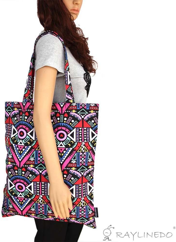 48,2 x 40,6 cm reutilizable multicolor Bolsa de tela RayLineDo estilo bohemio ecol/ógica