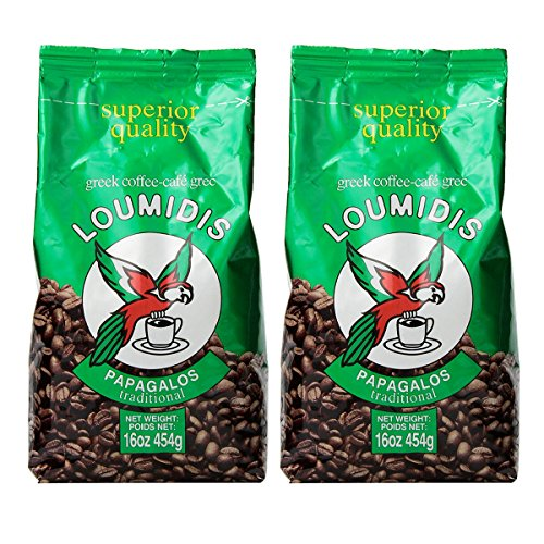 Loumidis Greek Ground Coffee Papagalos Traditional 2 Pack (16 Ounces)