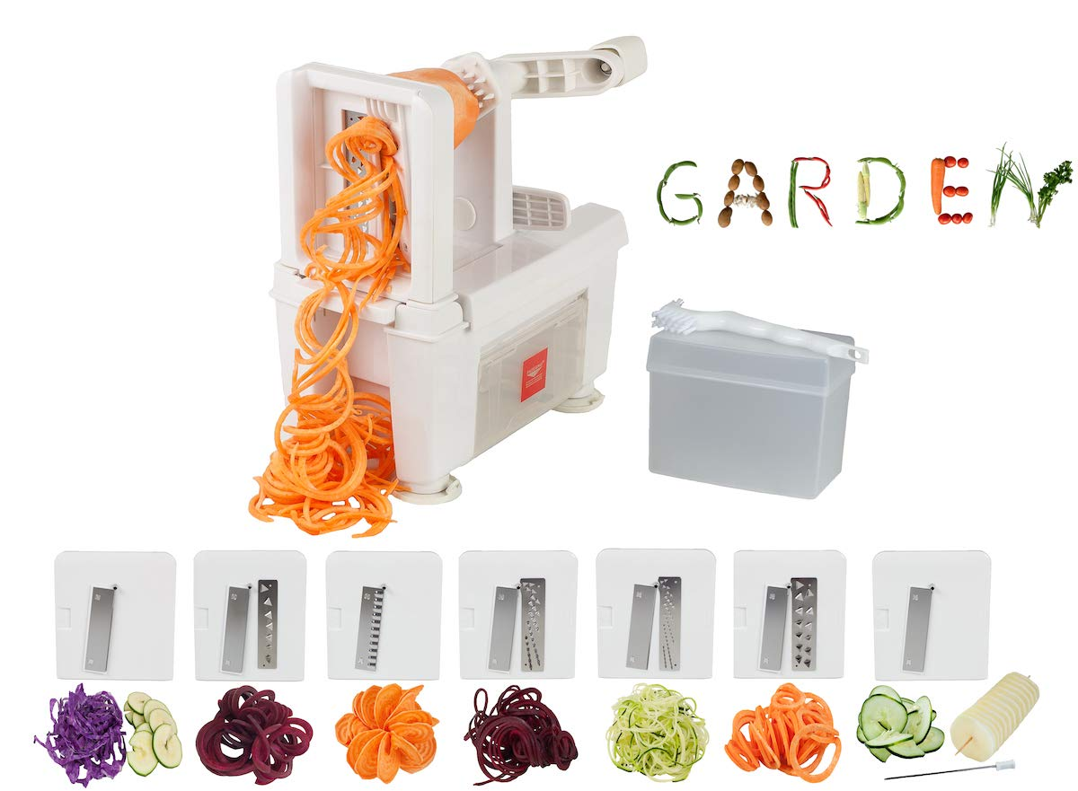 Paderno World Cuisine A4982807 8-Cut Collapsible Spiralizer, Folding 7-Blade, White by Paderno World Cuisine