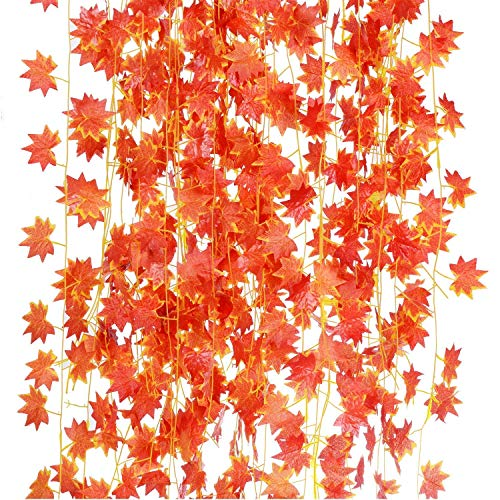 (HEBE 12 Strands (90 Feet) Artificial Silk Maple Leaf Garland Autumn Fake Hanging Red Maple Leaves Vine for Home Office Garden Wedding Indoor Outdoor Fall Decor)