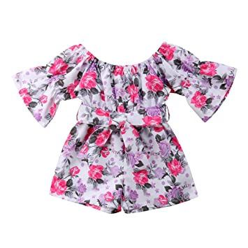 9cbd22a93b53 Image Unavailable. Image not available for. Color: NUWFOR Infant Toddler Baby  Girls Off Shoulder Floral Print Bow Romper Jumpsuit Outfits(Purple,