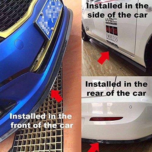 Universal Front Bumper Spoiler, DDSKY 8.2 ft/250cm Anti-scratch Carbon Fiber Front Lip Bumper Protector for Car/Truck/ SUV (Black)