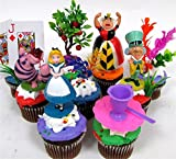 """ALICE IN WONDERLAND 12 Piece Birthday CUPCAKE Topper Set Featuring Alice in Wonderland Figures and Decorative Themed Accessories, Figures Average 2"""" to 3"""" Inches Tall"""