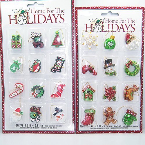 24 Piece Mini Christmas Tree Ornament Miniature Collection - Assorted Styles