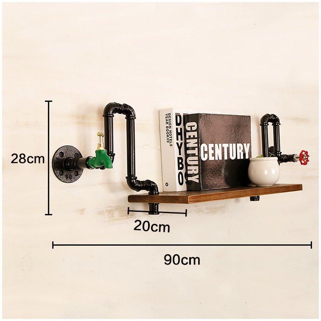 HTTDIAN 水のパイプラック無垢材のワードシェルフレトロ装飾産業風古いラックの壁吊り鉄の本棚 (Size : G) B07TP68CBD  G