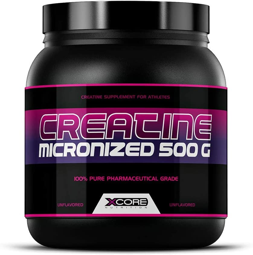Xcore Creatina Micronizada Polvo 500 g : Aumenta la Fuerza, la Resistencia y la Masa Muscular - Suplemento con Sabor Neutro - 100 Dosis