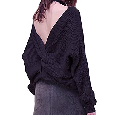 a21765faa1 vVkXGzVM Womens  Sexy Deep V Neck Knitted Backless Tie Sweater Pullover  Black