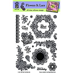 Clear Silicone Stamp Set by Hot Off The Press | Scrapbooking, Card Making, Gifts and Home Décor - Inspiration at Your Finger Tips (Flowers & Lace)