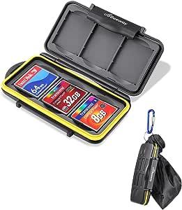 Beeway CF Card Holder, 6 Slots Water Shock Resistant Protector Compact Flash Card Holder for Sandisk Transcend Lexar Kingston CF Cards with Storage Bag & Carabiner