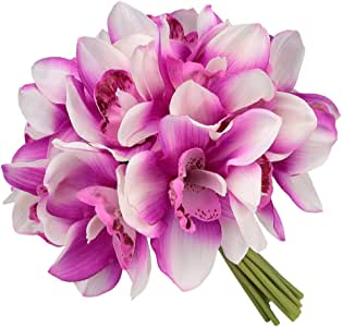 Easin Bridal Bouquets Artificial Flowers Real Touch Orchid Bouquet Wedding for DIY Centerpieces Party … (Fushia)