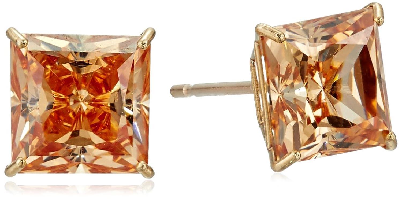 10K Yellow Gold Champagne Swarovski Zirconia Princess Cut Stud Earrings