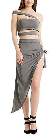 Mujer Conjuntos De Bandeau Top Y Falda Dos Piezas Elegantes Basic ...