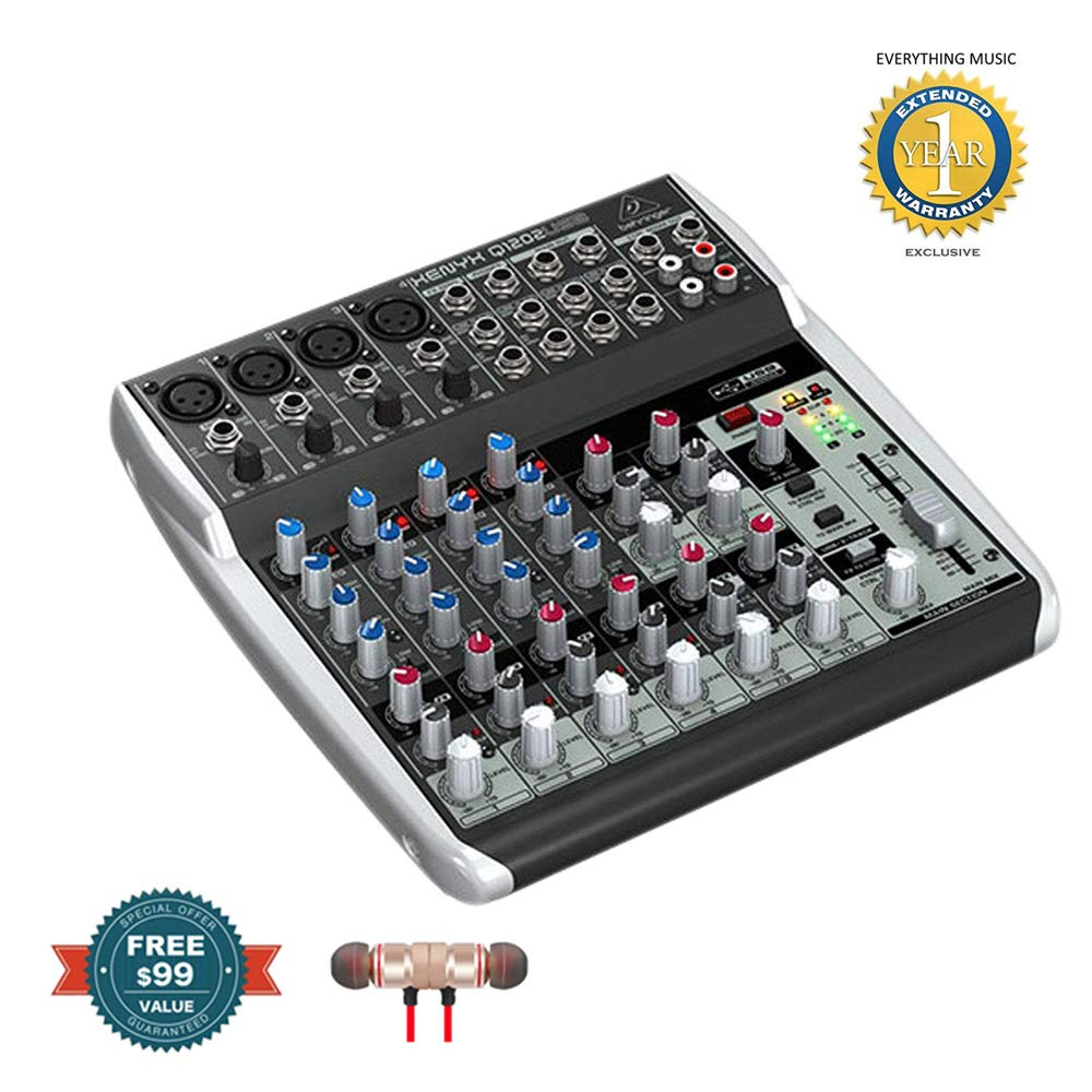 Behringer Xenyx Q1202USB 12-input, 2-bus Analog Mixer includes Free Wireless Earbuds - Stereo Bluetooth In-ear and 1 Year Everything Music Extended Warranty