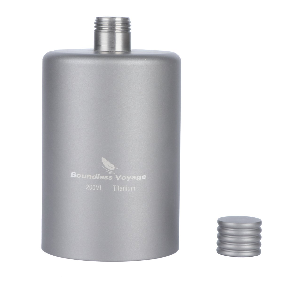 iBasingo 200ml Titanium Pocket Flagon Camping Portable Alcohol Bottle Drink Sports Outdoor Hip Flask Picnic Wine Bottle Ti1579I