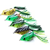 OriGlam 【Happy Shopping Day】 5pcs Topwater Frog Lures, Frog Crankbait Tackle, Frog Fishing Lures Soft Fishing Baits…
