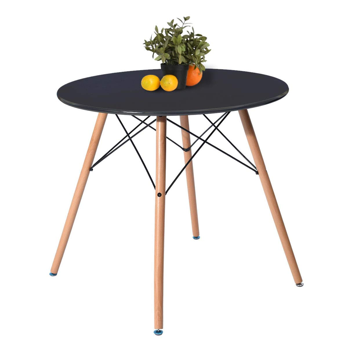 Kitchen Dining Table Round Coffee Table Black Collection Modern Leisure Wood Tea Table Office Conference Pedestal Desk by Coavas