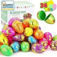 """JOYIN 36 Pcs 3.15"""" Jumbo Plastic Printed Bright Easter Eggs Sparkling Gold for Easter Egg Hunt, Basket Stuffers Filler, Fill"""