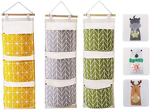 Cotton Linen Hanging Storage Basket 5 Pockets Wall Mounted Wardrobe Bag Storage
