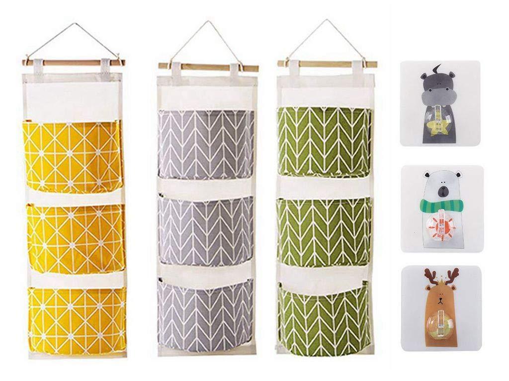 Blansdi Hanging Storage Bag Wall Mounted 3 Pockets Over Door Hanging Closet Organizer, Linen Cotton Fabric Waterproof Storage Bag Bedroom & Bathroom Green (3 Packs) GYPB-0064